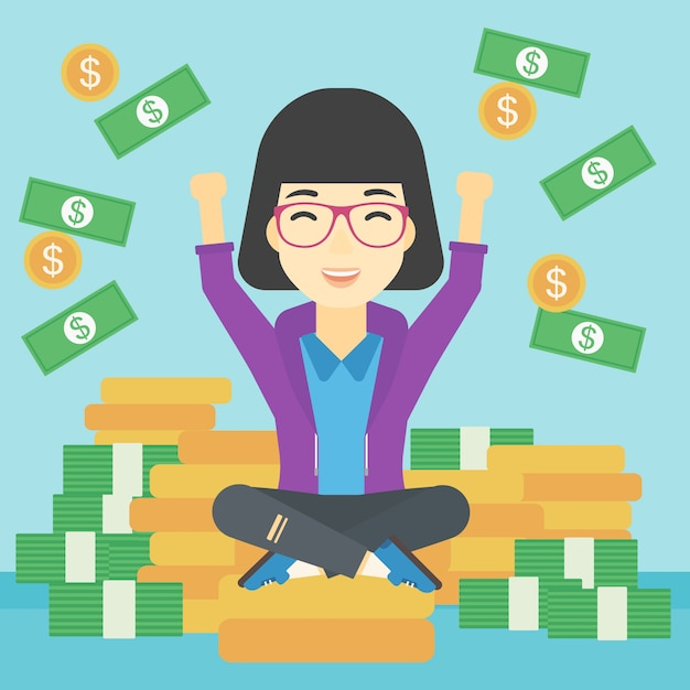 Happy business woman sitting on coins. Premium Vector