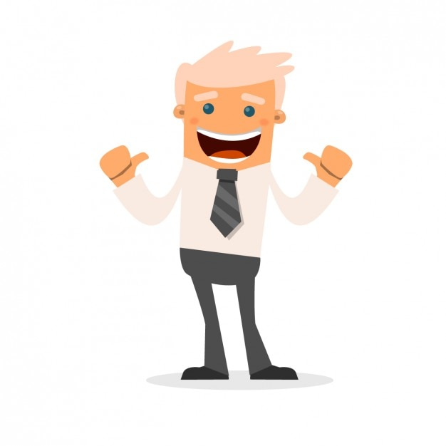 Happy businessman cartoon Free Vector
