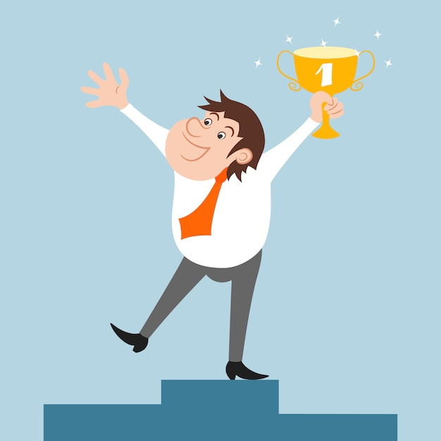 Happy businessman character won trophy success celebration Free Vector