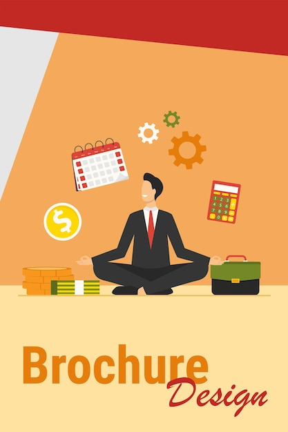 Счастливый бизнесмен, занимаясь йогой на работе. сотрудник в костюме сидит в позе лотоса и держит руки в жесте дзен. векторная иллюстрация для релаксации, снятия стресса, внимания, концентрации, концепции баланса Бесплатные векторы
