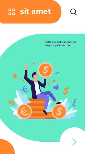お金を稼ぐ幸せな実業家フラットベクトルイラスト。巨大なコインを保持している漫画の億万長者または銀行家 無料ベクター