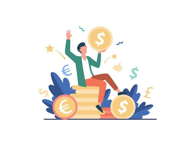 Happy businessman earning money   illustration Free Vector