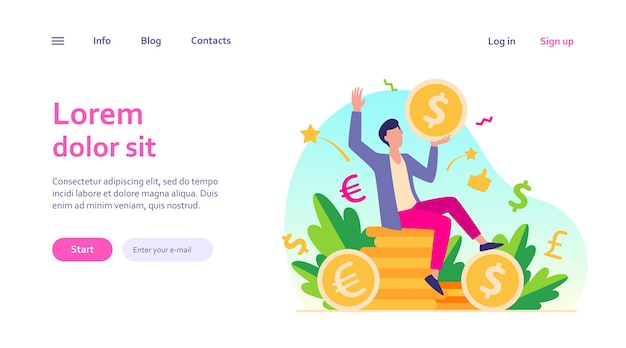 Happy businessman earning money web template. cartoon millionaire or banker holding huge coin. Free Vector