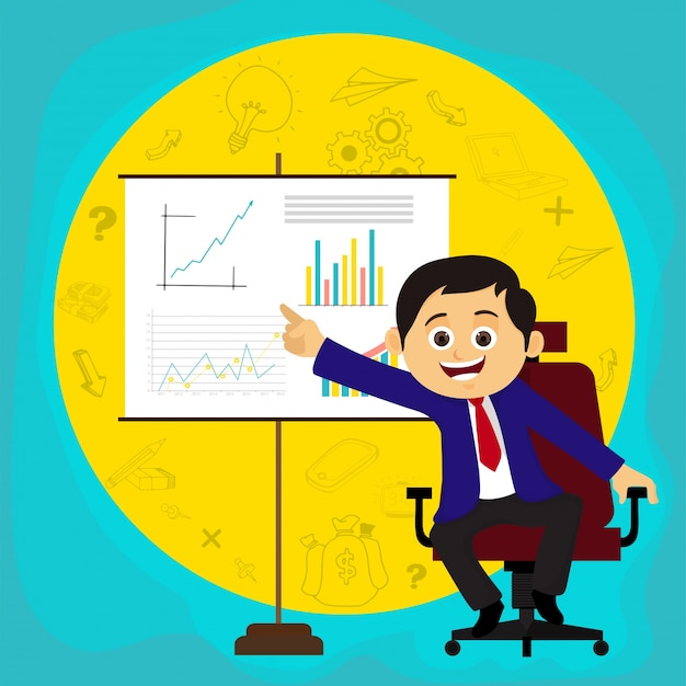 Happy businessman explaining business idea or plans through presentation. Free Vector
