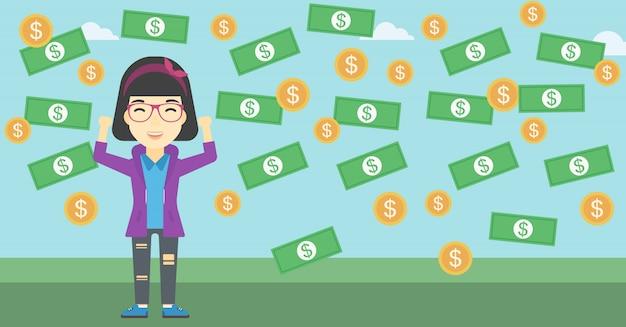 Happy businessman under money rain Premium Vector