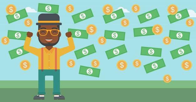 Happy businessman under money rain. Premium Vector