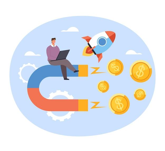 幸せなビジネスマンのサラリーマンは、マグネットマネーの利益給与を引き付けます。新しい成功したビジネススタートアップのコンセプト。 Premiumベクター