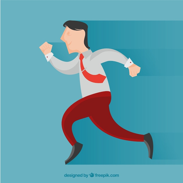 Happy businessman running