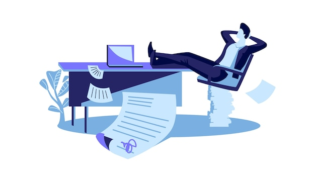 Happy businessman si siede con le gambe gettate sul tavolo, un contratto è concluso con successo, fumetto illustrazione vettoriale Vettore gratuito