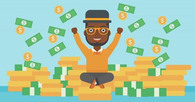Happy businessman sitting on coins. Premium Vector