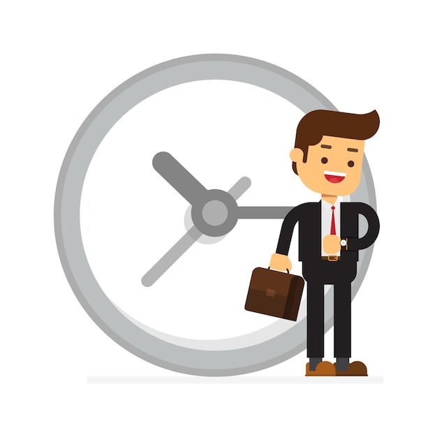 Happy businessman stand leaning to big clock Premium Vector