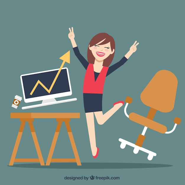 Happy businesswoman Free Vector