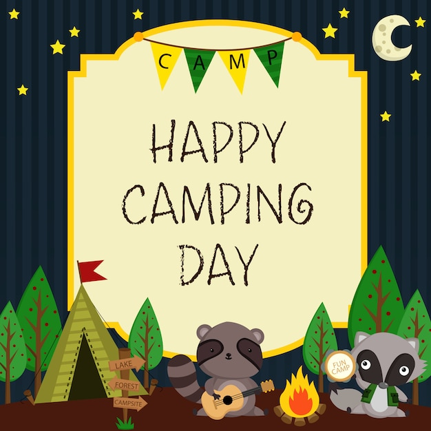 Happy camping card Premium векторы