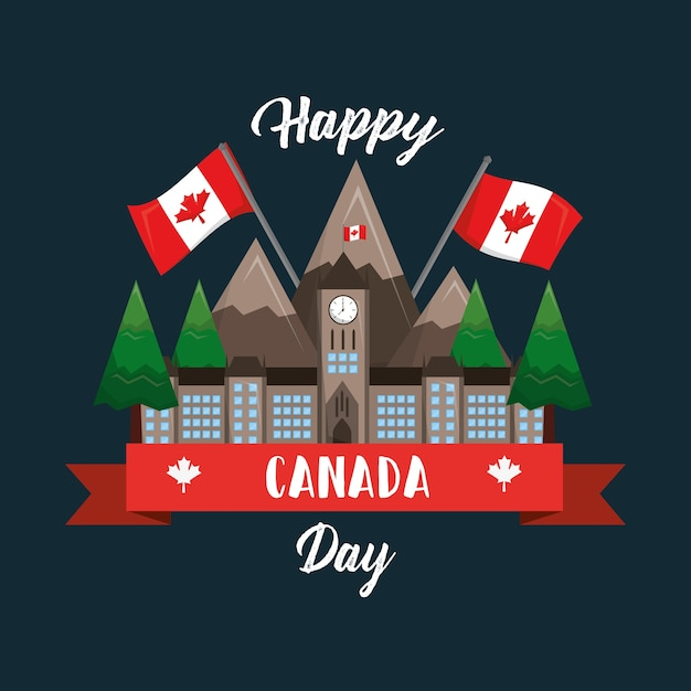 Happy canada day ottawa parliament mountaind flag national Premium Vector