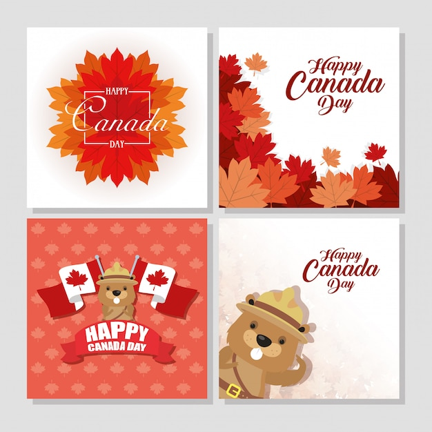 Premium Vector Happy Canada Day With Maple Leafs And Beaver