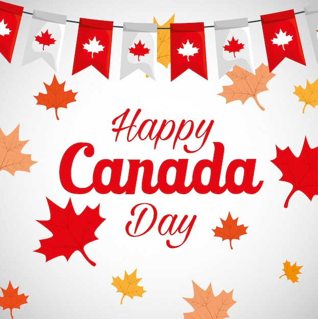 Premium Vector Happy Canada Day With Maple Leafs Decoration