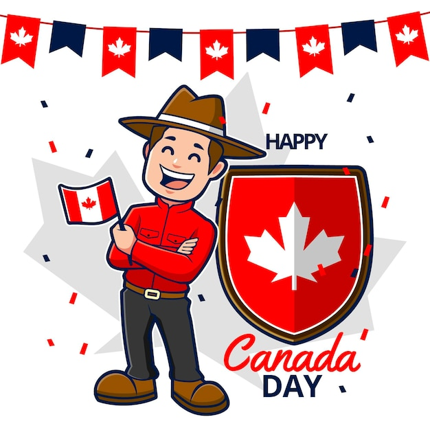 Happy canada day with ranger and flag Free Vector