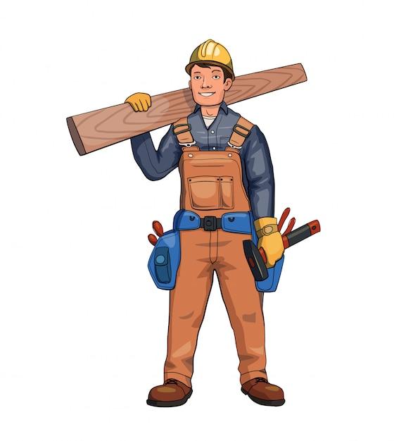 Счастливый плотник, строитель держит деревянную доску. Premium векторы