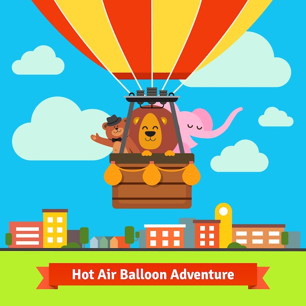 Happy cartoon animals flying on hot air\ balloon
