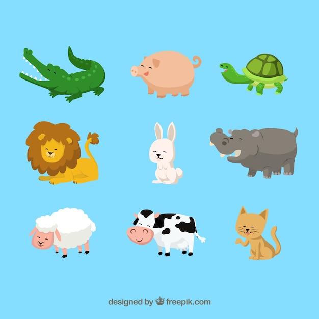 Happy cartoon animals
