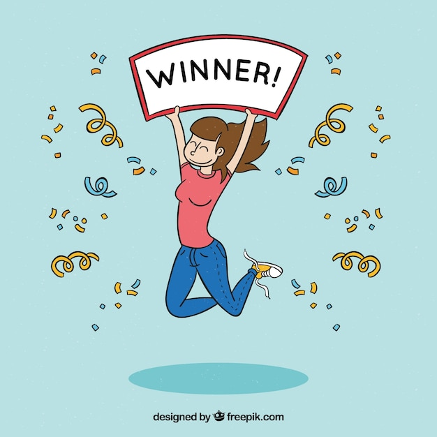 Happy cartoon character winning a prize Free Vector