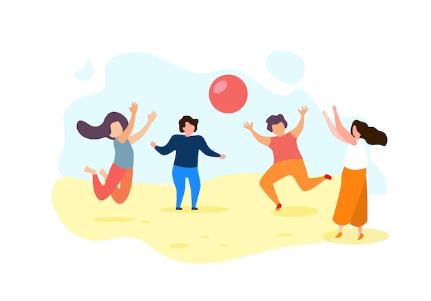 Happy cartoon children play ball outdoors Premium Vector
