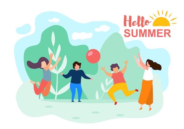 Happy cartoon children play ball sunny summer day Premium Vector