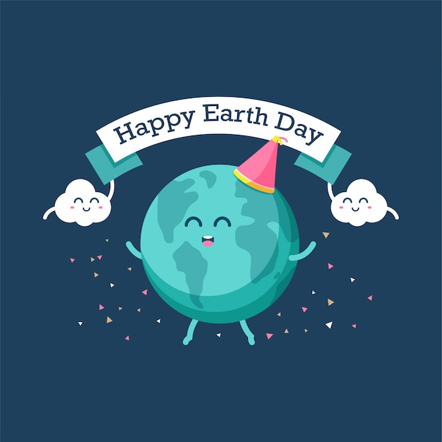 Happy cartoon earth and cloud celebrate together earth day. Premium Vector