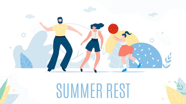 Happy cartoon family and summer rest at nature. Premium Vector