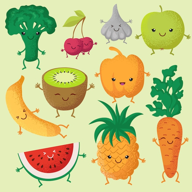 Garden Cute Cartoon: Happy Cartoon Fruits And Garden Vegetables With Funny Cute