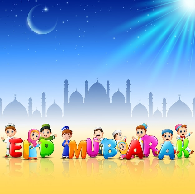 Happy cartoon kid celebrate eid mubarak | Premium Vector
