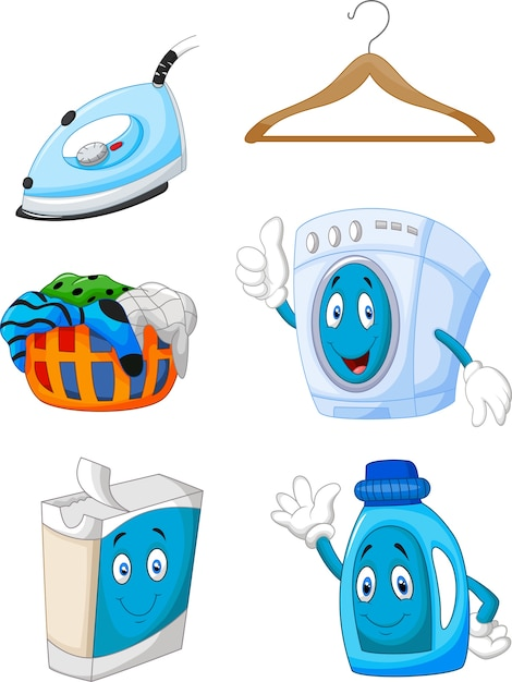 Happy cartoon laundry Premium Vector