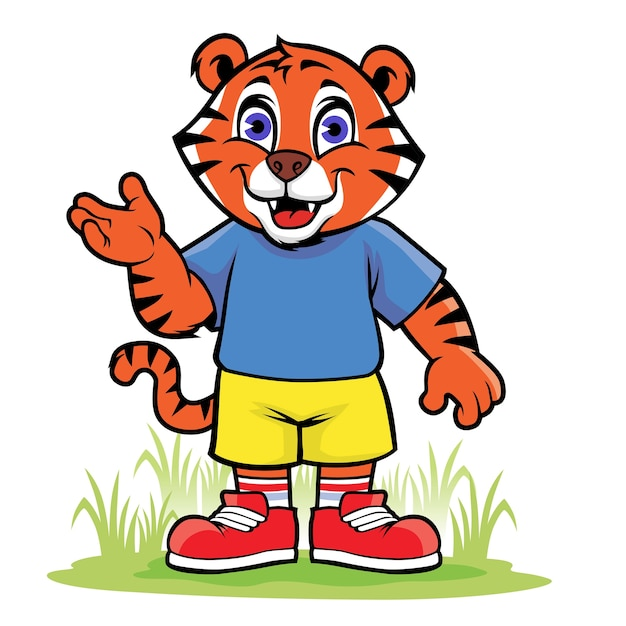 Happy Cartoon Little Tiger Vector Premium Download