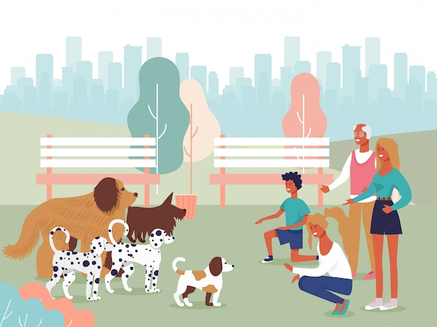 Happy cartoon people characters playing with dogs Premium Vector