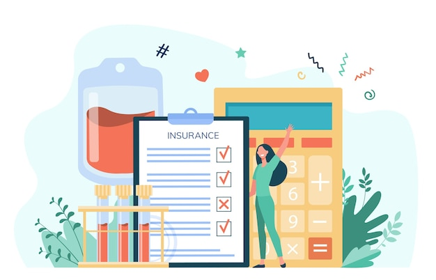 Happy cartoon woman holding health insurance. insurance checklist with calculator and blood samples. vector illustration for healthcare, medical assistance, service Free Vector