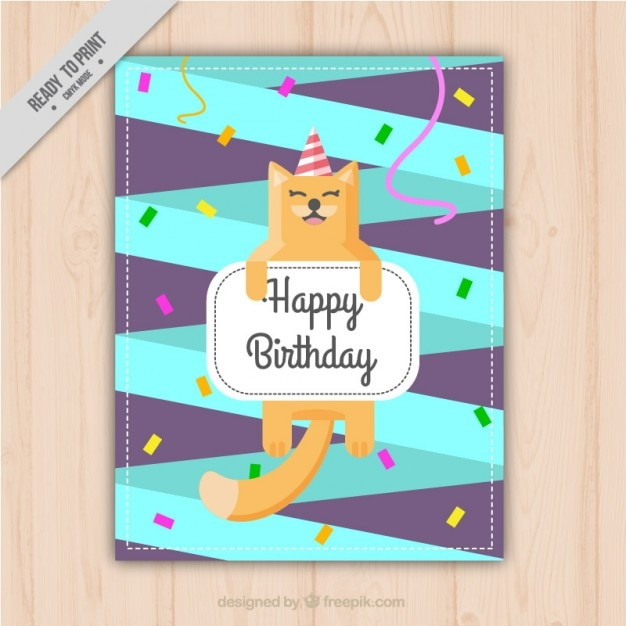 Happy cat in a birthday invitation