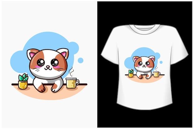 コーヒー漫画イラストと幸せな猫 Premiumベクター