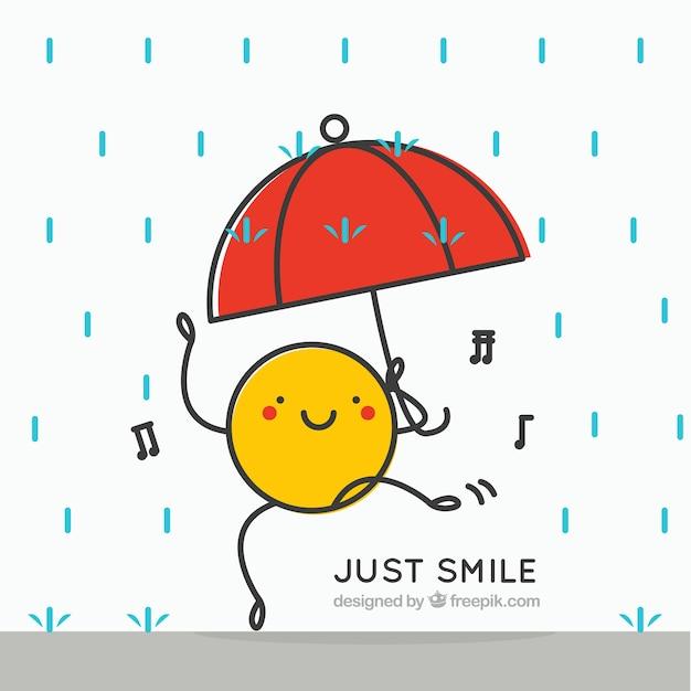 Happy character dancing with umbrella