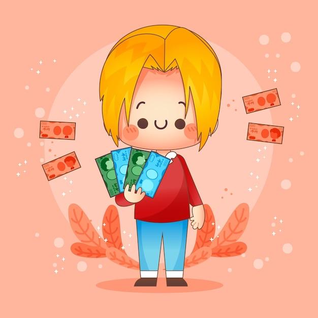 Счастливый персонаж держит банкноты иены Бесплатные векторы