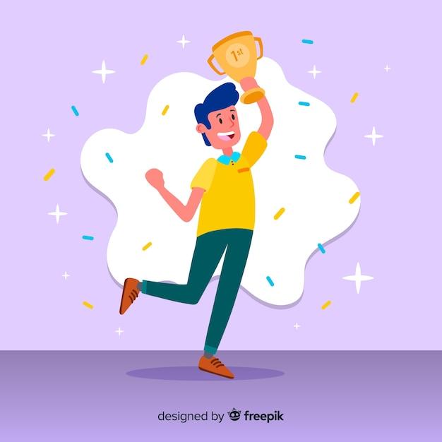 Счастливый персонаж, выигравший приз с плоским дизайном Бесплатные векторы