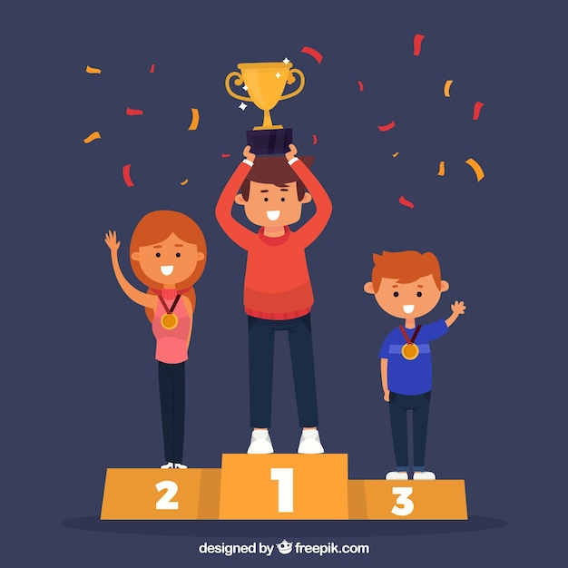 Happy character winning a prize with flat design Free Vector