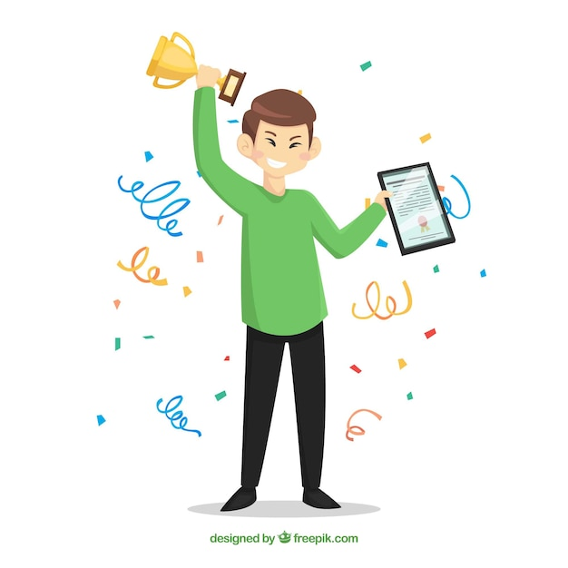Happy character winning prize with flat design Free Vector