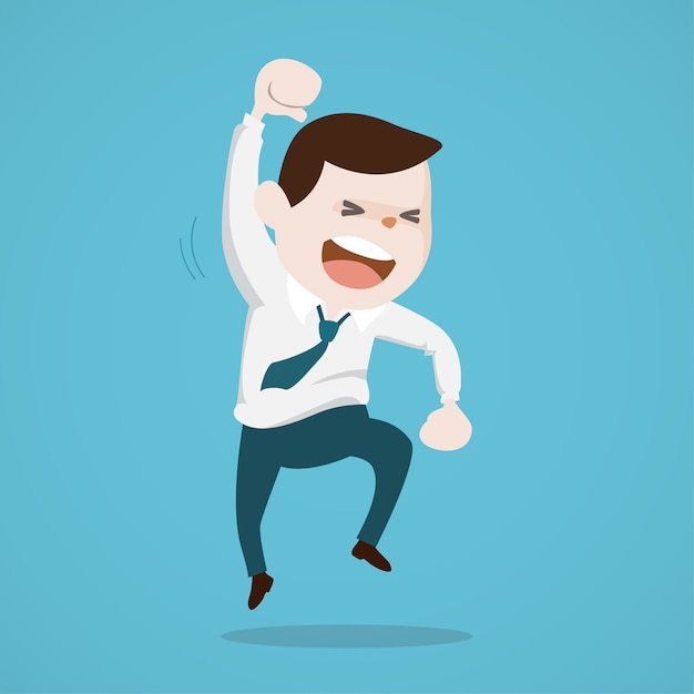 Happy cheerful businessman jumping in the air Premium Vector
