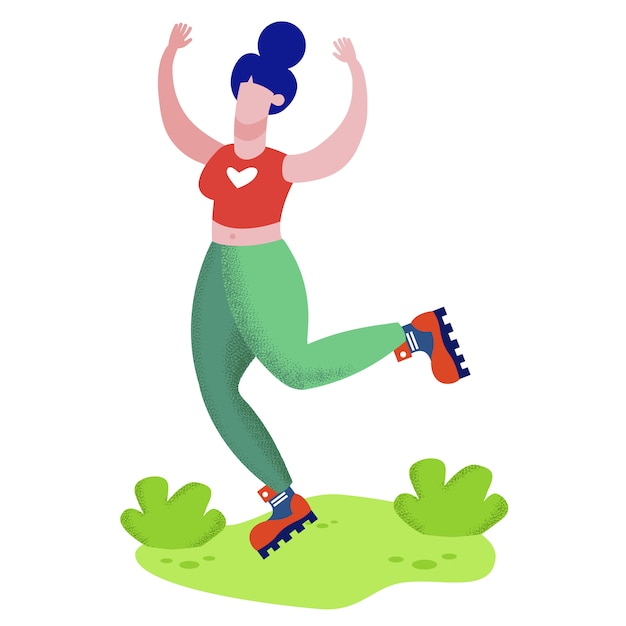Happy cheerful sportive woman skating on rollers Premium Vector