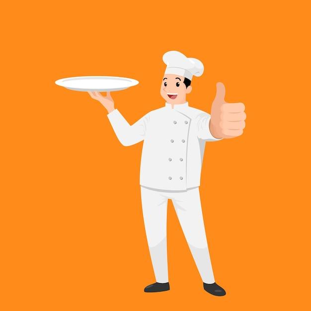 Счастливый шеф-повар мультяшный портрет молодого большого парня-повара в шляпе и форме шеф-повара держит пустое блюдо Premium векторы