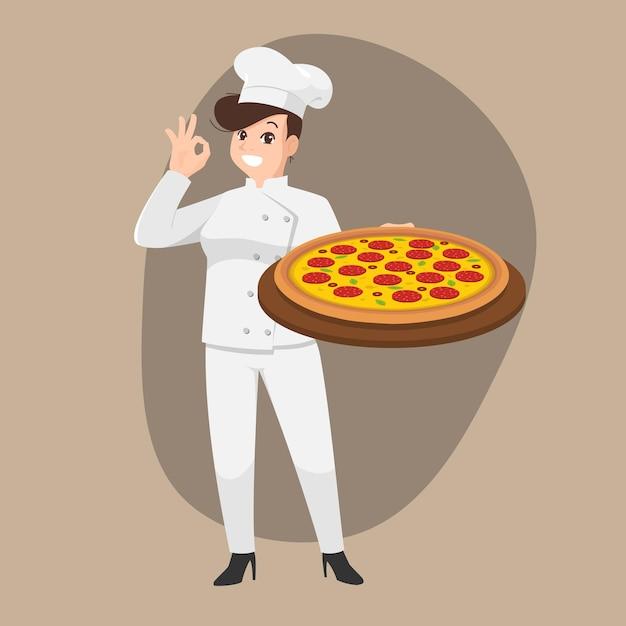 Счастливый шеф-повар мультяшный портрет молодой женщины-повара в шляпе и униформе повара держит тарелку для пиццы Premium векторы