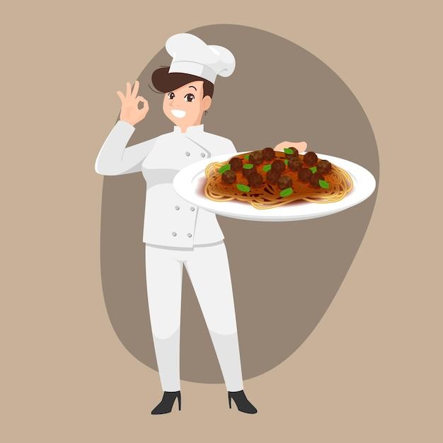 Счастливый шеф-повар мультяшный портрет молодой женщины-повара в шляпе и униформе шеф-повара держит блюдо для спагетти Premium векторы
