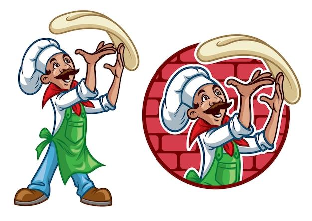 Счастливый повар бросает пиццу Premium векторы