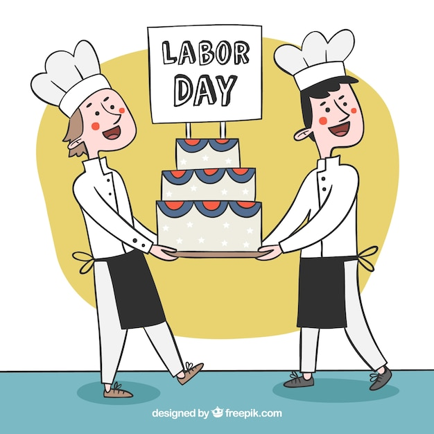 Happy chefs carrying labor day's cake