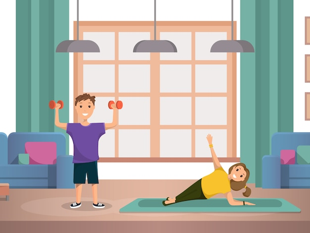 Happy child doing morning fitness exercises home Premium Vector